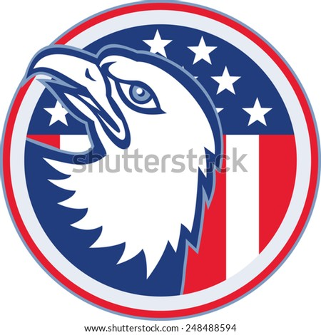 vector illustration of a bald eagle head looking up with american stars stripes flag set inside circle on isolated white background.