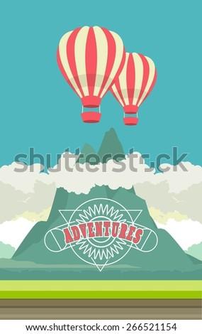vector illustration of a balloon flight over the beautiful mountainous terrain - stock vector