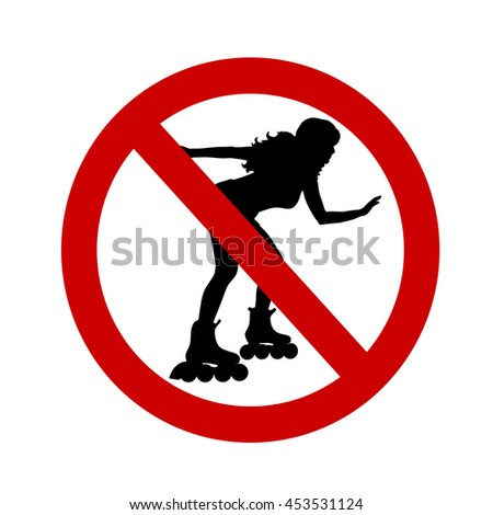 Vector illustration of a ban on roller skates on a white background.