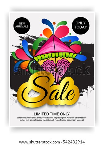 Vector illustration of a Banner For Makar Sankranti with Beautiful Text and Colorful Kite.