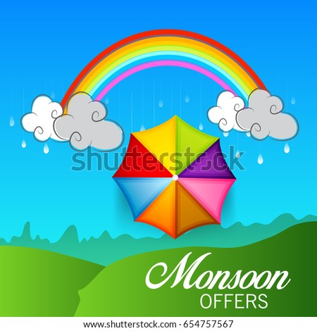 Vector illustration of a Banner for Monsoon Offers.