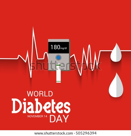 Vector illustration of a Banner or Poster For fight against diabetes with Glucose meter and Blood drop in red Background.