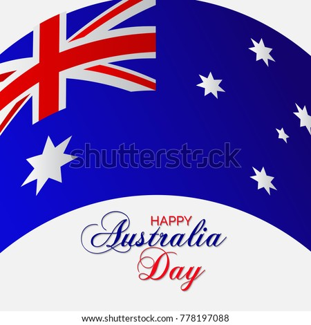 vector ilration of a banner with australia flag and map for happy australia day