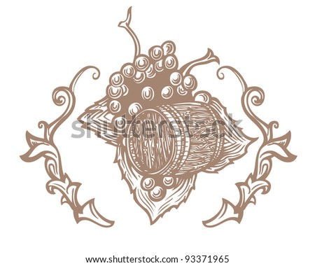Vector illustration of a barrel and a bunch of grapes - stock vector