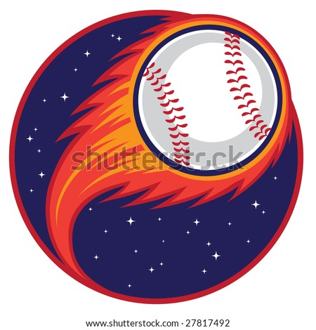 Vector illustration of a baseball drawn as a comet shooting through space.