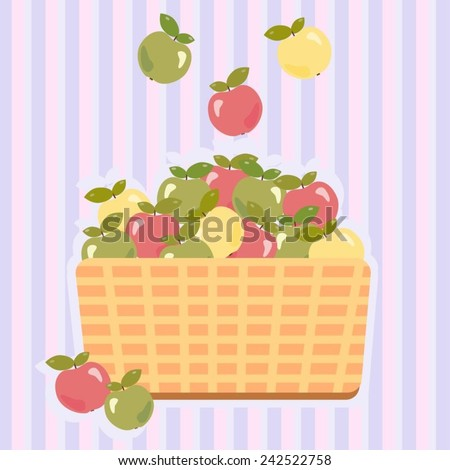 Vector illustration of a basket with red, green and yellow apples against a striped background.