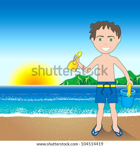 Vector Illustration of a Beach Sand Boy Background.