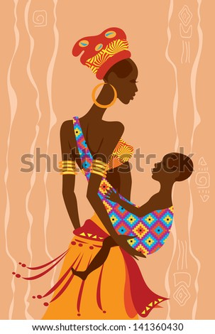 Vector illustration of  a beautiful african mother and  her baby in a sling - stock vector