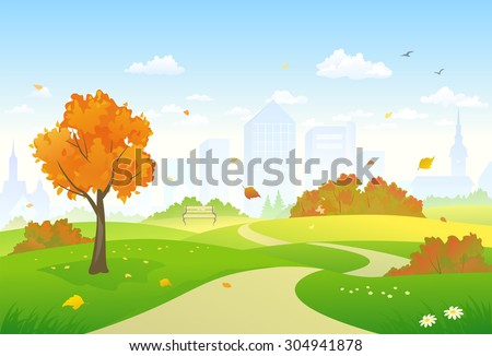 Vector illustration of a beautiful autumn city park alley - stock vector