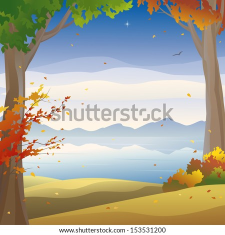 Vector illustration of a beautiful autumn night landscape, square background - stock vector