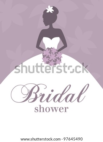 Vector illustration of a beautiful bride against pastel purple background. Bridal shower/wedding invitation template. - stock vector