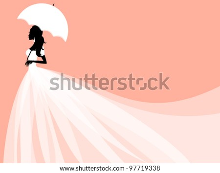 Vector illustration of a beautiful bride holding an umbrella. Perfect for bridal shower/wedding invitation. EPS 10 file. - stock vector