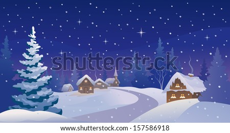 Vector illustration of a beautiful Christmas eve scenery - stock vector