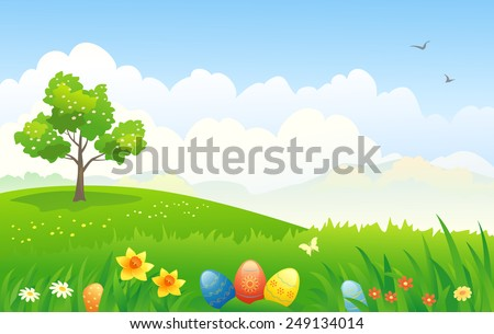 Vector illustration of a beautiful Easter scenic background - stock vector