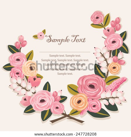 Vector illustration of a beautiful floral border with branches. Beige background - stock vector