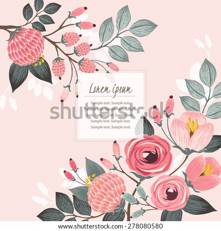 Vector illustration of a beautiful floral border with spring flowers. Light pink background - stock vector