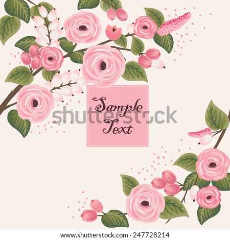Vector illustration of a beautiful floral frame with branches. beige background - stock vector