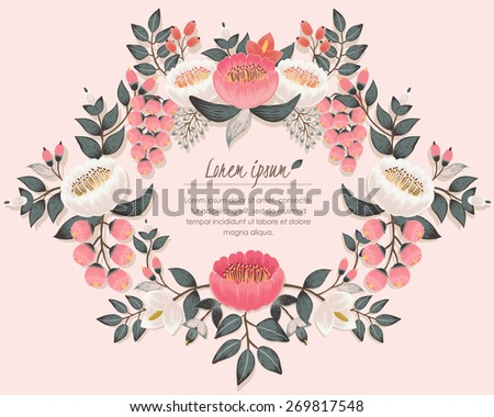 Vector illustration of a beautiful floral wreath. Pink background - stock vector