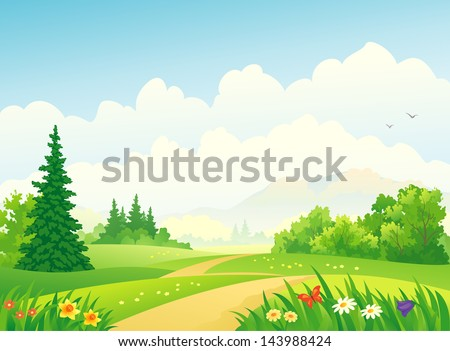 Vector illustration of a beautiful forest - stock vector