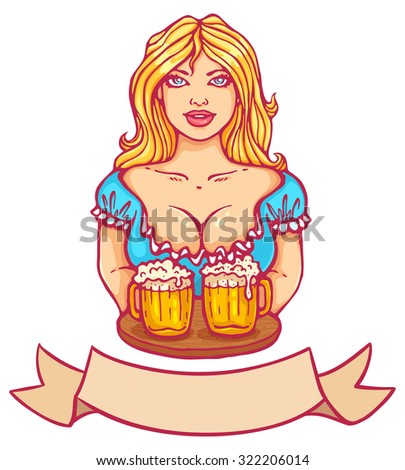 Vector illustration of a beautiful girl and beers