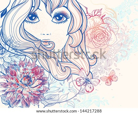 vector illustration of a beautiful girl and blooming flowers - stock vector