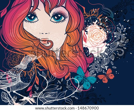 vector illustration of a beautiful girl with birds and flowers - stock vector