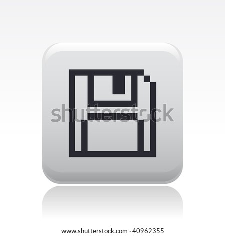 Vector illustration of a beautiful gray icon isolated in a modern style with a reflection effect depicting a floppy stylized in pixels - stock vector