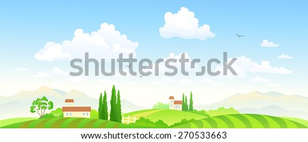 Vector illustration of a beautiful green farm scenery