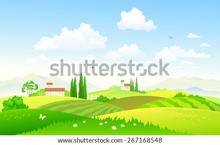Vector illustration of a beautiful green hilly countryside - stock vector