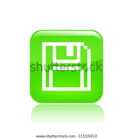Vector illustration of a beautiful green icon isolated in a modern style with a reflection effect depicting a floppy stylized in pixels - stock vector