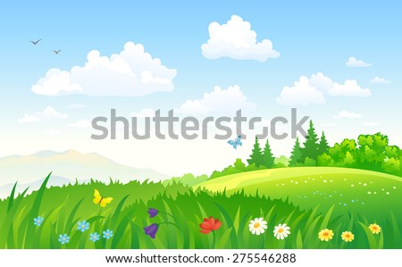 Vector illustration of a beautiful green summertime landscape - stock vector