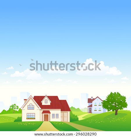 Vector illustration of a beautiful landscape with suburban houses, square view - stock vector