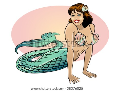 vector illustration of a beautiful mermaid..shells are envelopes - stock vector