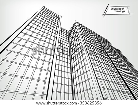 Vector Illustration Of A Beautiful Outlined Skyscraper View From Below Useful Abstract Urban Background