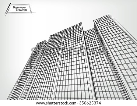 Vector illustration of a beautiful outlined skyscraper. View from below. Useful abstract urban background for business brochure, leaflet, print and other modern and futuristic design. - stock vector