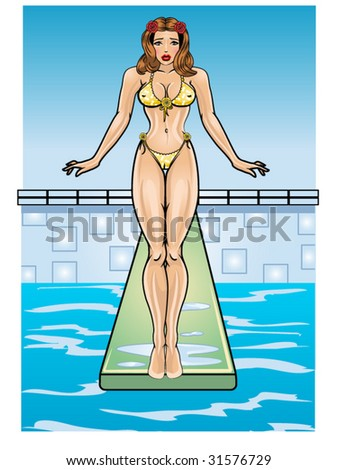 vector illustration of a beautiful pinup on a diving board. - stock vector
