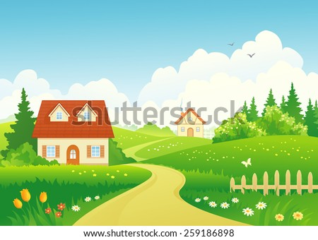 Vector illustration of a beautiful rural landscape  - stock vector