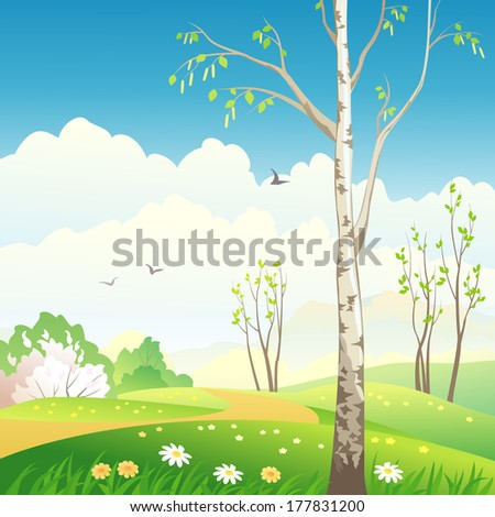 Vector illustration of a beautiful rural spring landscape with a blossoming birch tree - stock vector