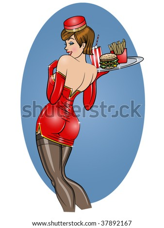 vector illustration of a beautiful sexy carhop pinup - stock vector