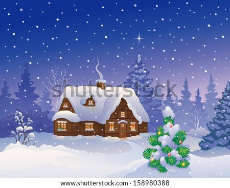 Vector illustration of a beautiful snowy Christmas cottage and decorated fir tree