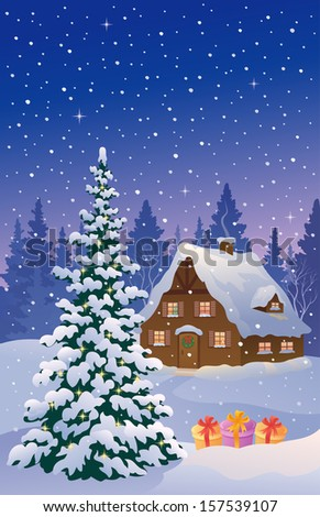 Vector illustration of a beautiful snowy cottage and Christmastree, vertical card