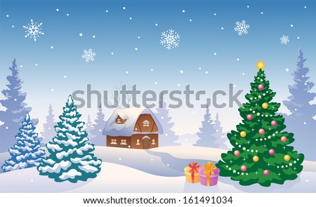 Vector illustration of a beautiful snowy country landscape with a Christmas tree and small house - stock vector