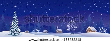 Vector illustration of a beautiful snowy winter village - stock vector