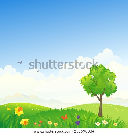 Vector illustration of a beautiful spring hilly scenery - stock vector