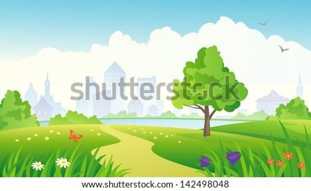 Vector illustration of a beautiful summer city park - stock vector