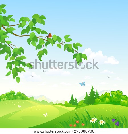 Vector illustration of a beautiful summer rolling landscape with a branch - stock vector