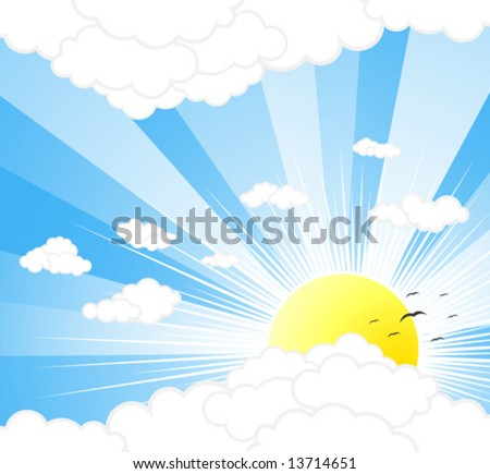 Vector illustration of a beautiful sunny sky with rays, clouds and birds.