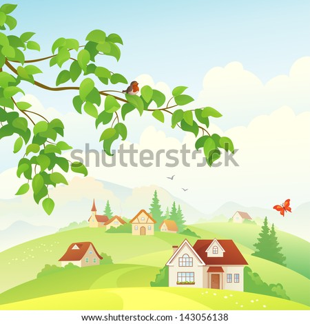 Vector illustration of a beautiful village view and a leafy branch with a bird - stock vector