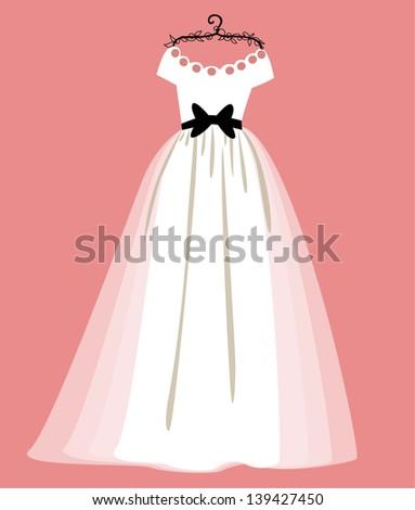 vector illustration of a beautiful wedding dress. - stock vector