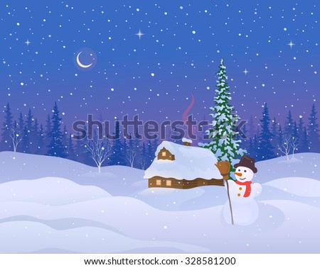 Vector illustration of a beautiful winter night landscape with a snow covered cabin and snowman